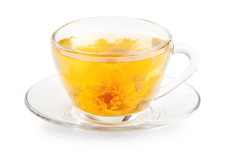 cup of healthy tea with yellow flower Stock Photo - 19608687