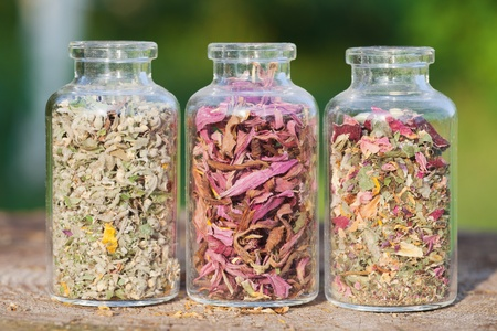 glass bottles with healing herbs on wooden board in sunset sunlight, herbal medicine Stock Photo - 19849066