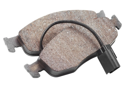 rigging: two brake pads isolated on white background Stock Photo