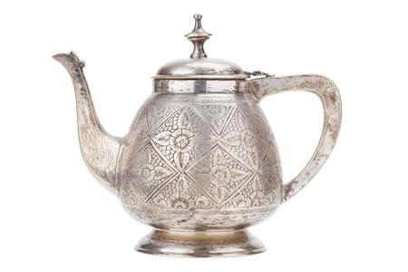 kettles: Tetera de plata retro, una jarra aisladas sobre fondo blanco