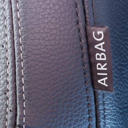 airbag: airbag label on the side of a car seat Stock Photo