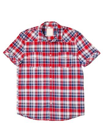 checkered polo shirt: men chesk shirt isolated on white Stock Photo