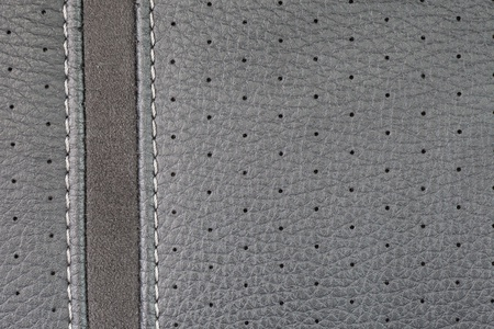 gray  leather texture with seam photo