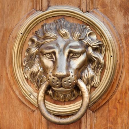 knocker: Door knocker, handle -  lion head Stock Photo