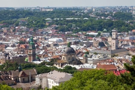 Top view of the Lvov city from height Stock Photo