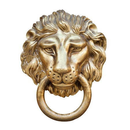 ancient lion: lion head, Door knocker, isolated on white
