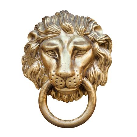 tête de lion, heurtoir de porte, isolé sur blanc