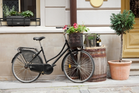 Old bicycle carrying flowers as decoration, wooden barrel with bottles of wine and tree in flower pot photo