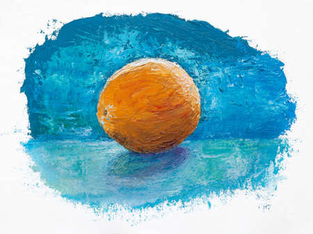 orange on blue background, oil painting Stock Photo - 21967122