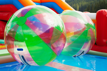 ball on water: water walking ball, zorbing in open swimming pool