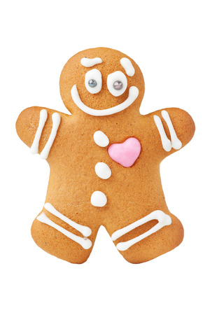 gingerbread heart: Gingerbread man, isolated