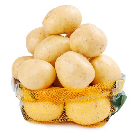sackful: Fresh potatoes in sack Stock Photo