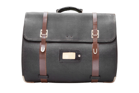airman: retro leather satchel bag,isolated on white