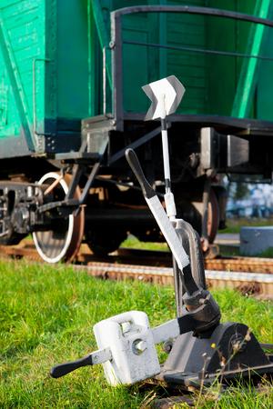 shunt: old railway switch and retro train wagon Stock Photo