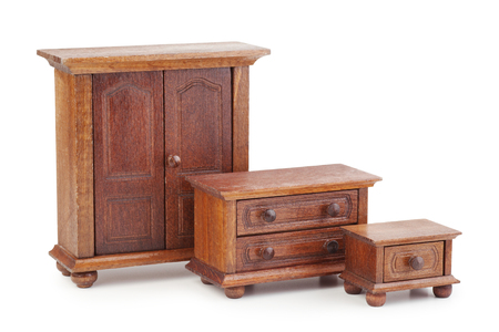 nightstand: vintage doll wooden furniture set: wardrobe, chest of drawers and nightstand