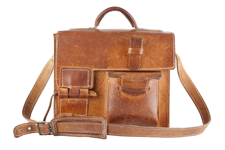 leather briefcase: Old Brown Shoulder bag, isolated Stock Photo