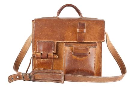 saddlebag: Old Brown Shoulder bag, isolated Stock Photo