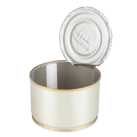 canned goods: Opened Tin can isolated on white, canned food