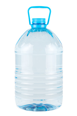 liter: Plastic bottle of clear cold drinking water isolated on white