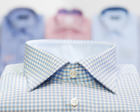 checked shirt: fashion man business shirt in clothing store
