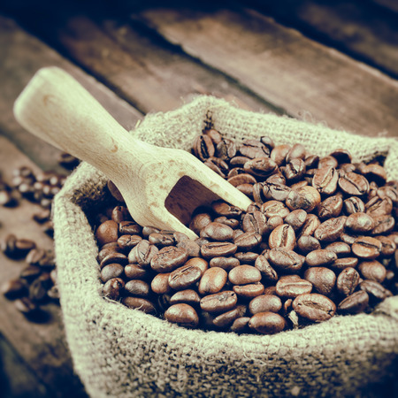 Vintage stylized photo of sack with coffee beans and wooden scoop on wooden plank photo