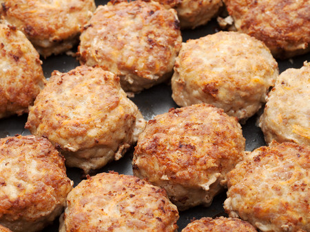 meatball from minced meat in frying pan Stock Photo