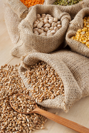 hessian bag: hessian bag with wheat and wooden spoon closeup; peas, chick peas, red lentils in sack and green mung on background Stock Photo