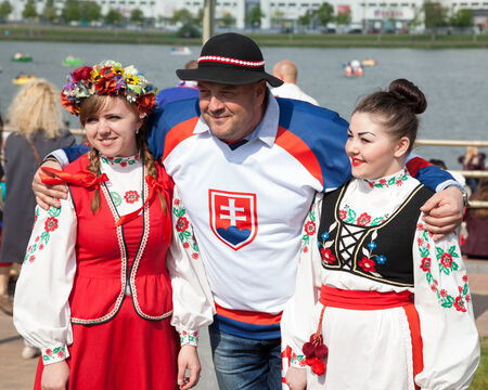 Minsk, Belarus, 09-May-2014: celebration of Ice Hockey World Championship on streets