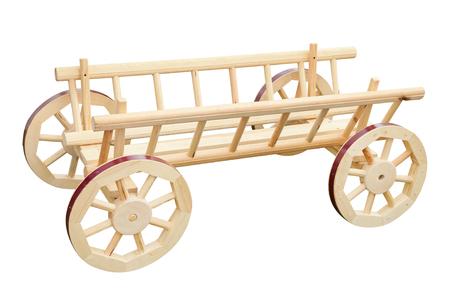 carreta madera: carro de madera decorativa, aislado en blanco