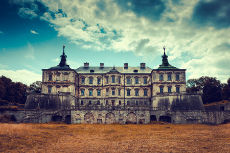 mansion: Old stylized Pidhirtsi Castle, village Podgortsy, Renaissance Palace, front view, Lviv region, Ukraine Editorial
