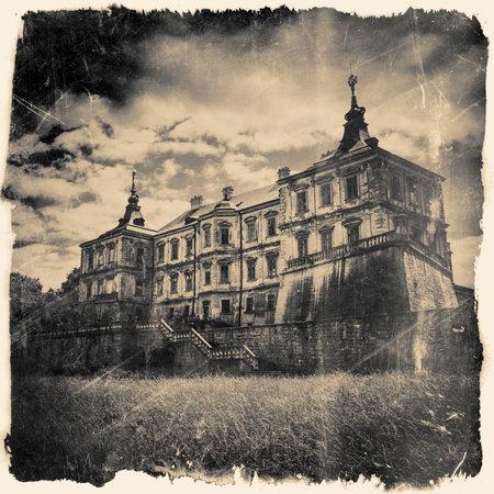 Pidhirtsi Castle, village Podgortsy, Renaissance Palace, Lviv region, Ukraine. Retro stylized in black and white colors