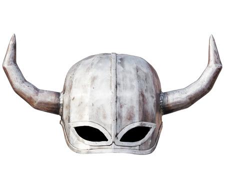 viking helmet: Medieval knight helmet isolated on white Stock Photo