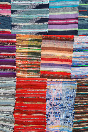 rug texture: Texture of traditional colorful rug textile. Ethnic design Stock Photo