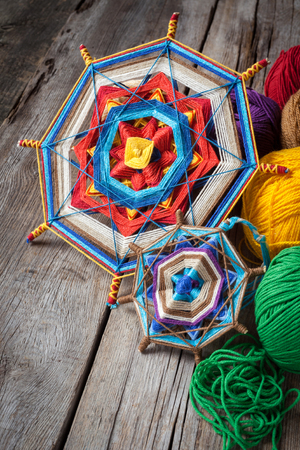 tantra: two knitted tibetan mandala from threads and yarn