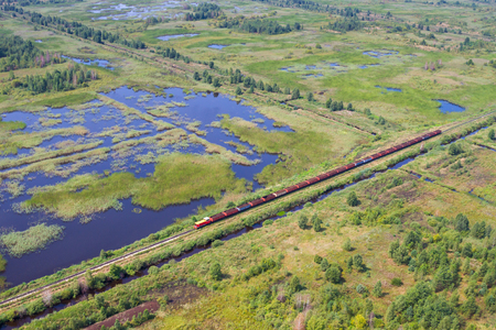 turf bog: Aerial view of bog landscape and train with turf Stock Photo
