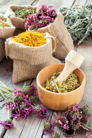 Healing herbs in wooden mortar and in hessian bags, herbal medicine. Stock Photo