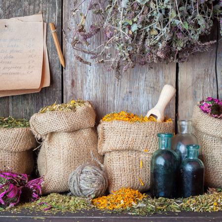 Healing herbs in hessian bags, bottles of tincture and paper sheet with  recipes on wooden wall background, herbal medicine. photo
