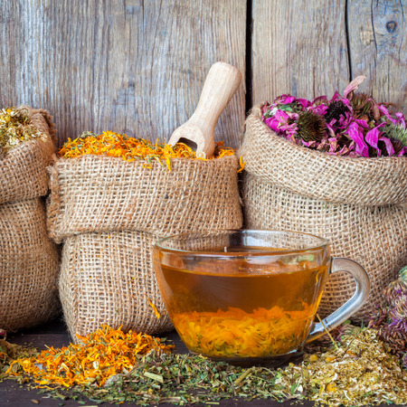 Healing herbs in hessian bags and healthy tea cup on rustic wooden background, herbal medicine. Фото со стока