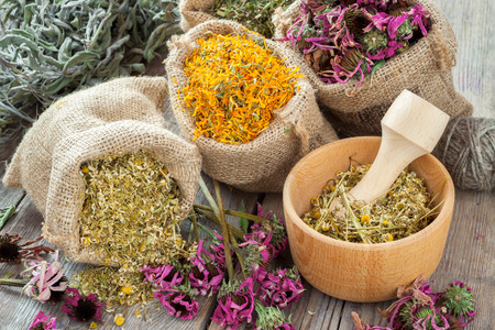 Healing herbs in hessian bags, wooden mortar with chamomile on rustic table, herbal medicine.