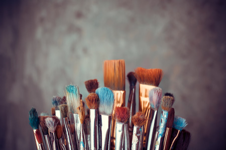 vibrant paintbrush: Bunch of artist paintbrushes closeup
