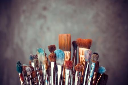 Bunch von Künstler Pinsel Großansicht Standard-Bild