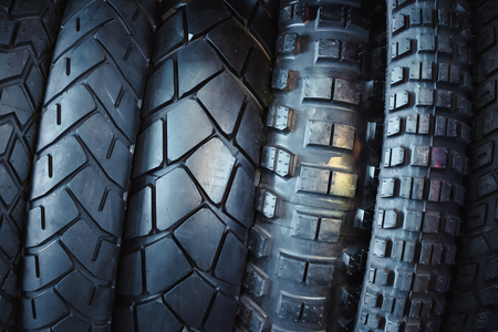Motorcycle tires, stylized toning image. Stock Photo