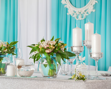 dinning table: Beautiful decorations on  wedding table for bride and groom. Stock Photo