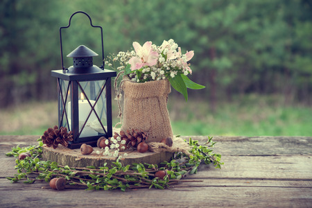 decor: Wedding still life in rustic style. Retro stylized photo.