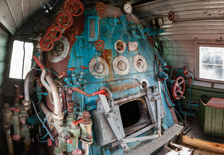 firebox: Fragment of engine room on old steam locomotive