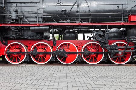 railway engine: Fragment of old steam locomotive