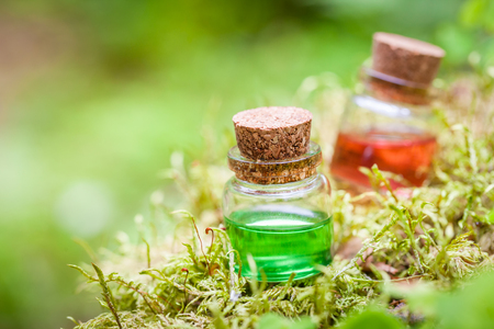 pocion: Dos botellas de aceite esencial o poción mágica en el musgo en el bosque Foto de archivo