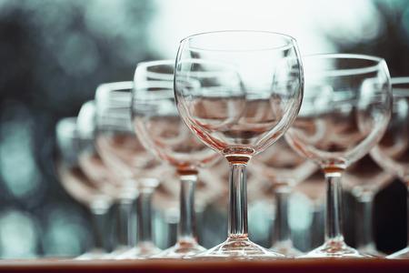 glassware: Vintage stylized photo on wine glasses. Selective focus.