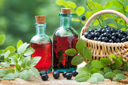 Two vintage bottles of tincture or cosmetic product and basket with blueberries on wooden table. Stock fotó