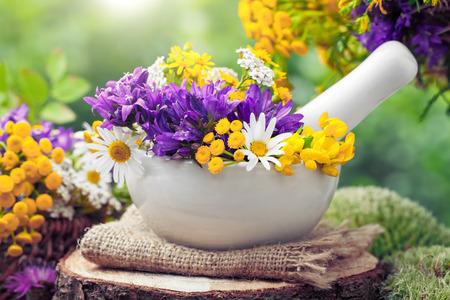 Mörtel mit heilenden Kräutern und wilden Blumen. Pflanzenheilkunde.